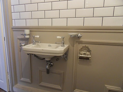 Farrow and Ball Elephant's Breath paint in bathroom panelling
