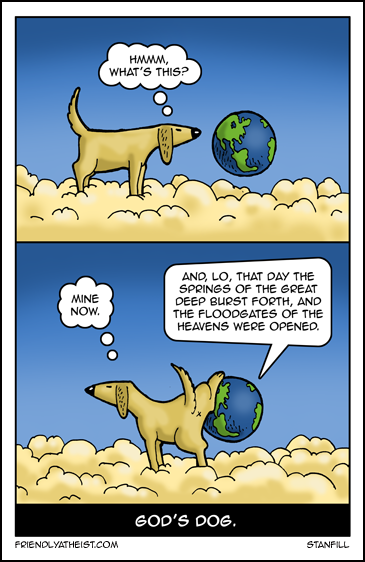 Funny God's dog cartoon picture