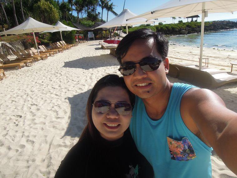 Enjoying the beach at Shangri-La Mactan Resort and Spa in Cebu