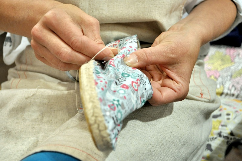 The Makery's Kate showing how to hand stitch Espadrilles