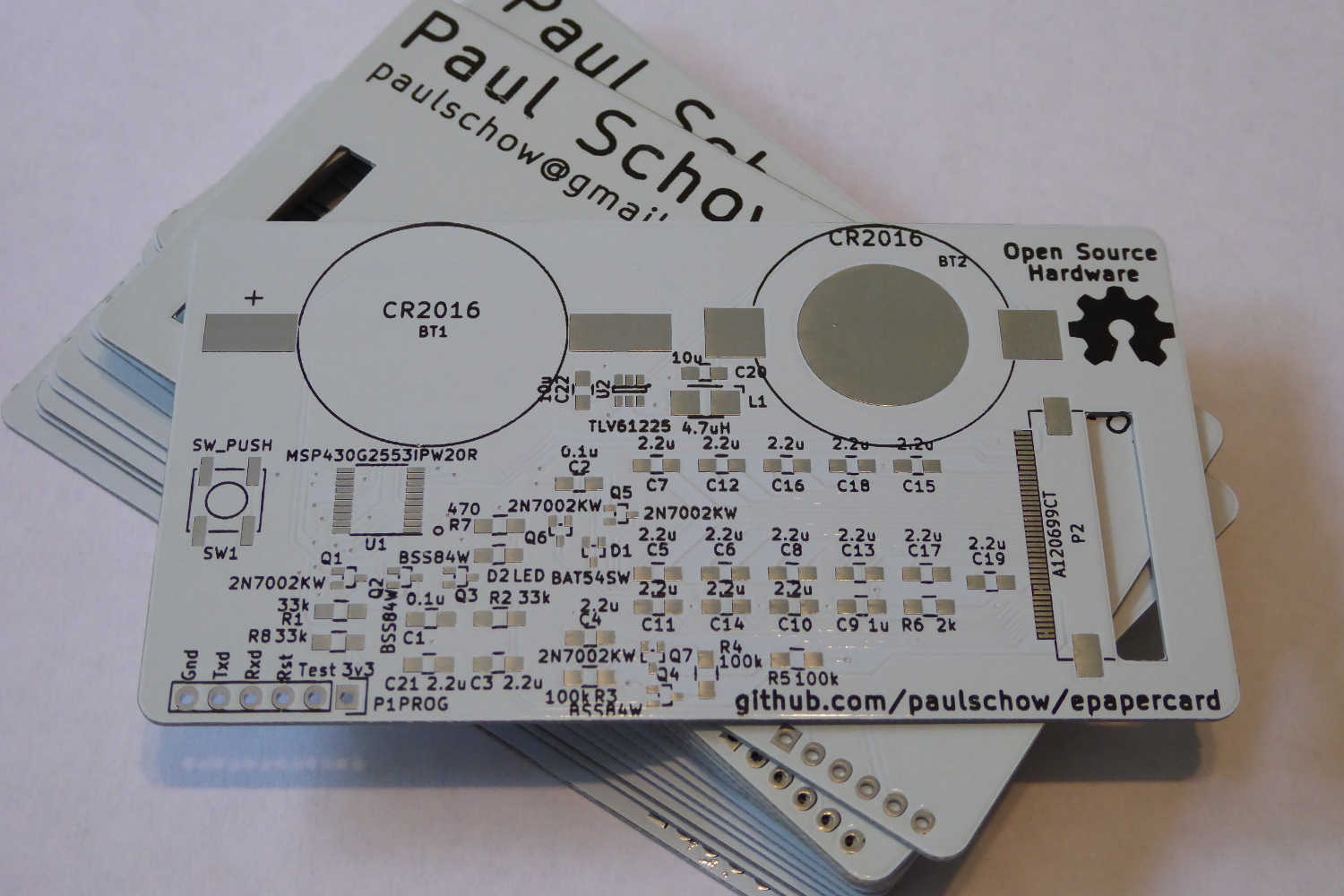 Pauls projects epaper business card i headed back to tinkermill to solder these up to no ones surprise i made another small mistake i reversed pin 4 and 6 on the boost regulator colourmoves Choice Image
