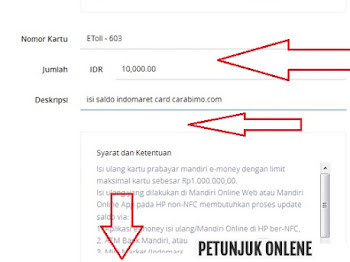 Cara Top Up Indomaret Card dengan Internet Banking Mandiri Online