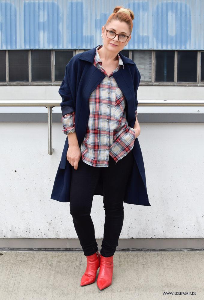 Skinny Jeans, Oversized Mantel, Oversized Look stylen