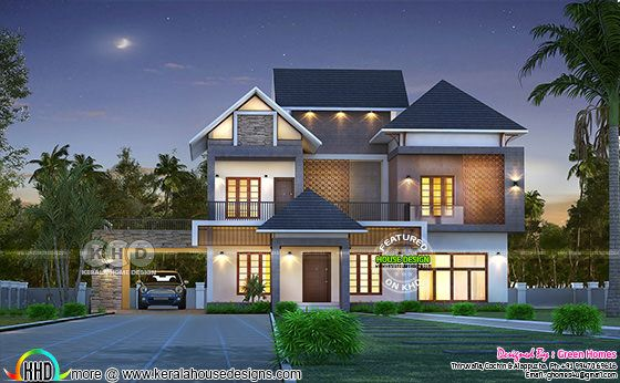 Grand front elevation of Kerala home - February 2020 edition
