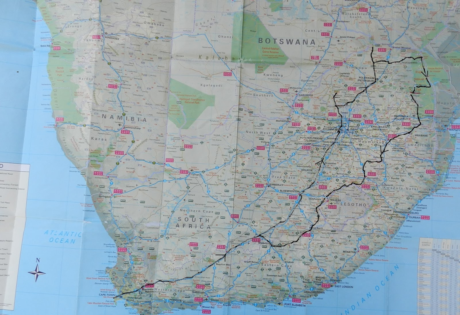 the tour will take us to four national parks karoo np marakele np mapungubwe np and kruger np our travel map looks something like this