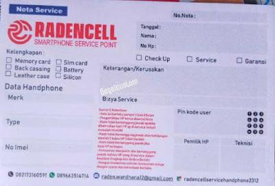 contoh nota service smartphone