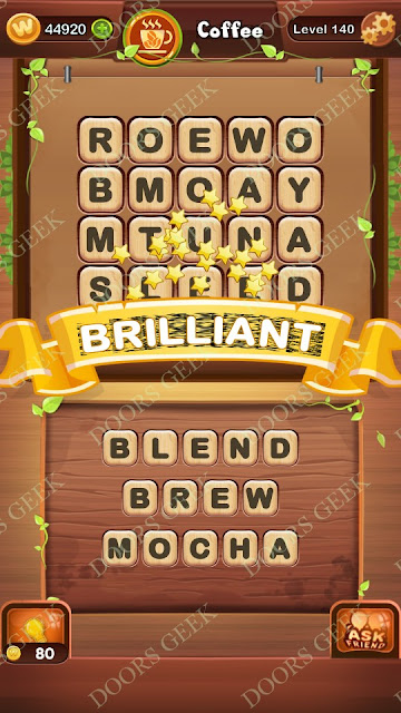 Word Bright Level 140 Answers, Cheats, Solutions, Walkthrough for android, iphone, ipad and ipod