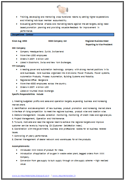 Sample Resume Format For Experienced Mechanical Engineer