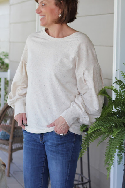 McCall's 7721 view D with pleated sleeves made from a Style Maker French Terry