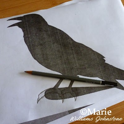 Drawing claws onto a printed image of a bird