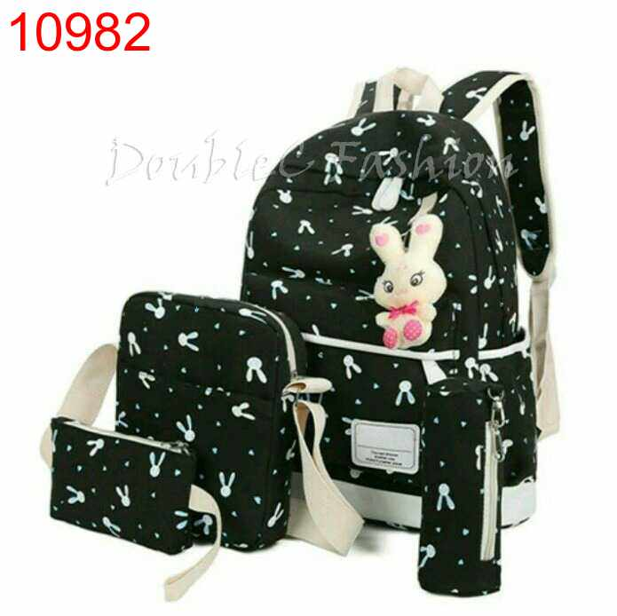 TASHIE BACKPACK RABBIT BLACK - 10982
