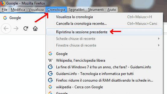 Firefox menu contestuale Cronologia opzione Ripristina sessione