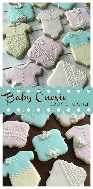 tutorial and video on decorated baby onesie cookie