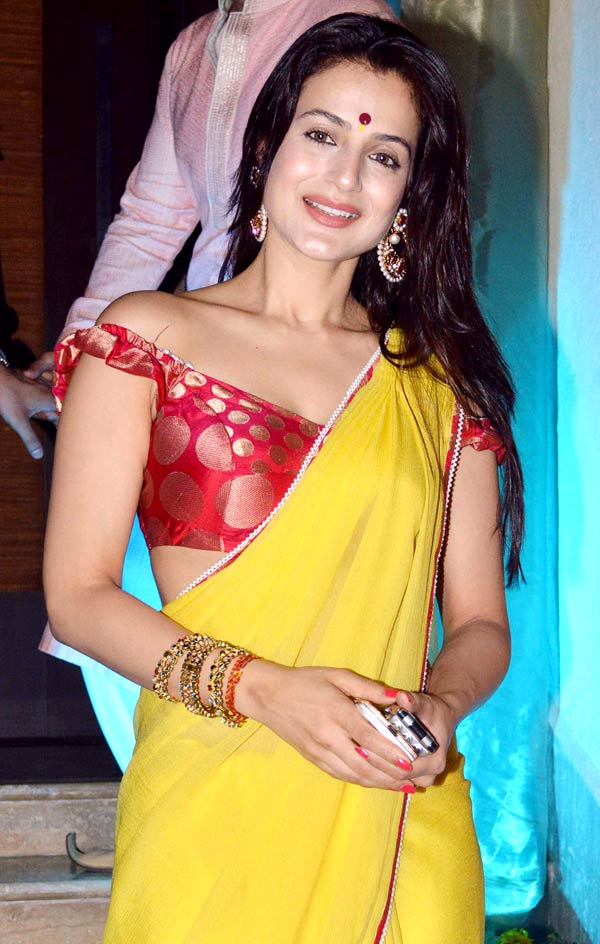 Ameesha Patel saree Diwali bash photos