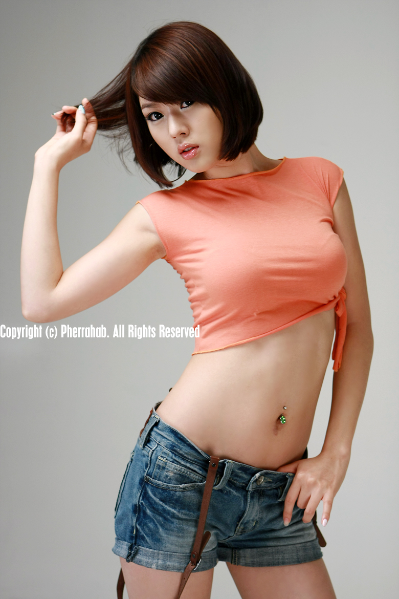 hwang mi hee sexy orange dress pics 01