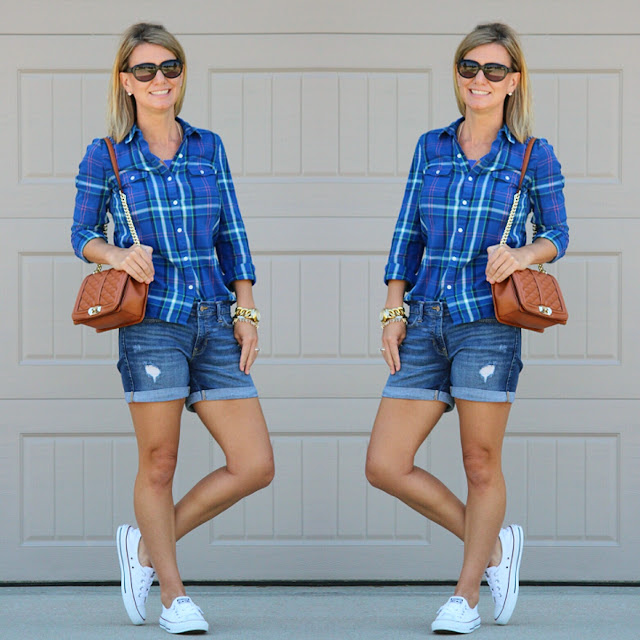 Old Navy plaid shirt, Gap Factory rolled and distressed denim, Rebecca Minkoff Handbag, Converse slip ons