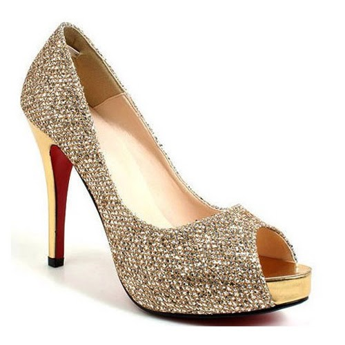 Wedding Lady: Light Gold Bridal Shoes