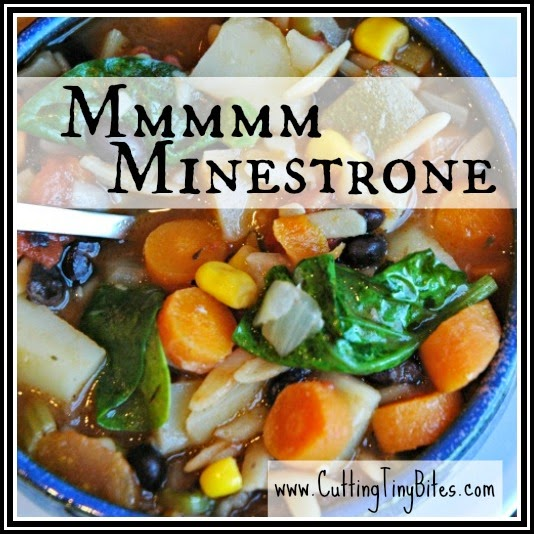 Minestrone soup full of vegetables.  Add a hearty loaf of bread for a healthy vegetarian weeknight supper.