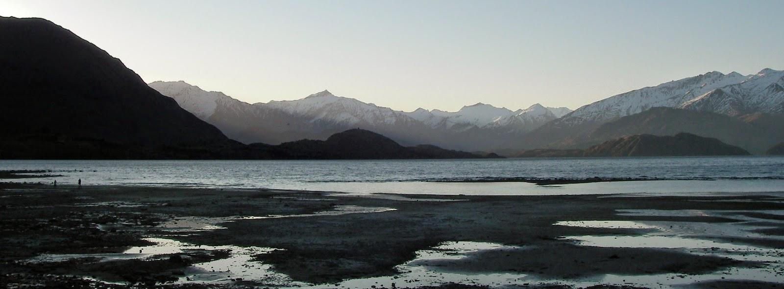 View of Lake Wanaka at sunset