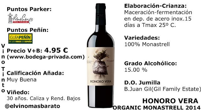 Comprar Honoro Vera Monastrell Organic 2014 el vino joven de bodegas juan gil