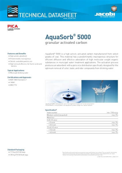Technical Data Sheet (TDS) Karbon Aktif Jacobi AquaSorb 5000