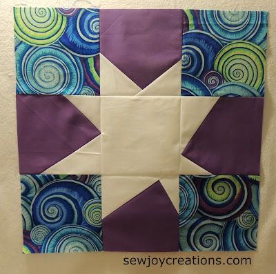 white wonky star modern quilt block