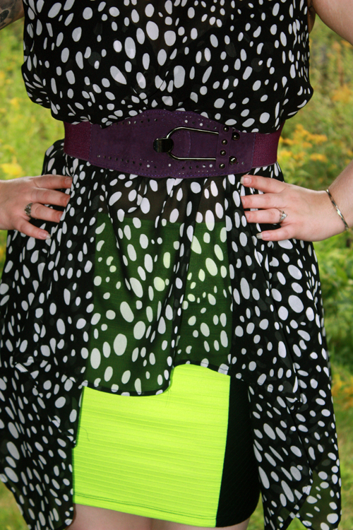 acrylic necklace, bandage skirt, belt, black and white, blouse, boots, domino dollhouse, fab.com, fashion, just fab, necklace, neon colors, neon green, OOTD, outfit of the day, polka dots, purple, radical, shoes, skirt, studded boots, studs, tattoos, top, wedge boots, wedges