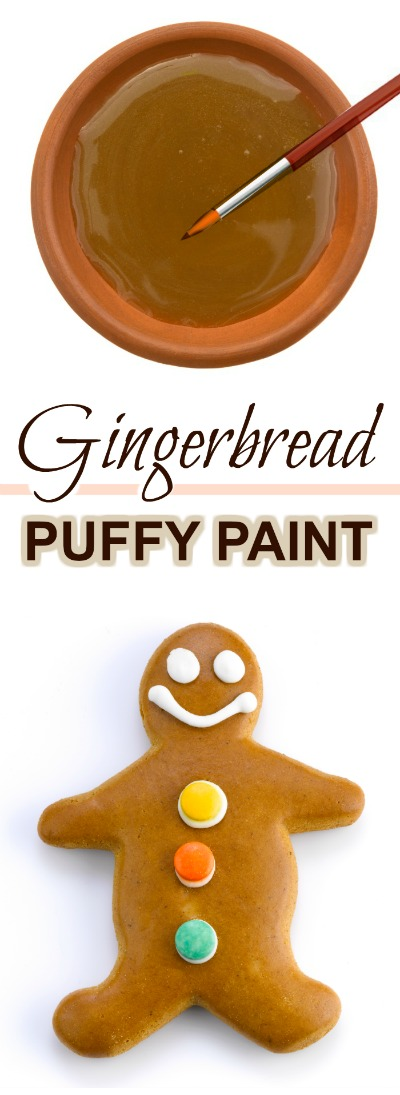GINGERBREAD PUFFY PAINT FOR KIDS: easy to make & so fun! #Christmascraftsforkids #gingerbreadpaintrecipe