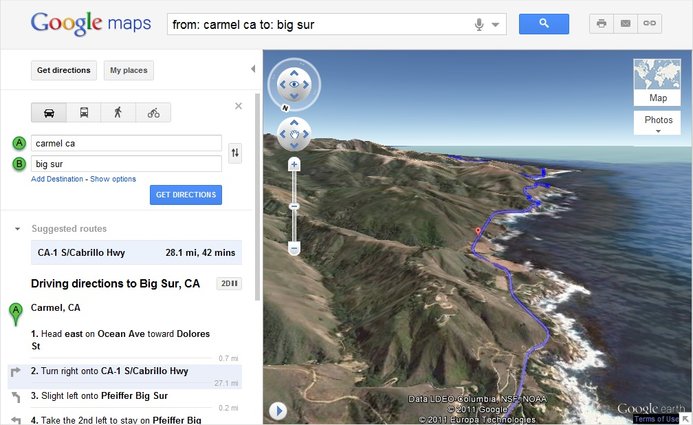 helicopter view of your driving directions on google maps