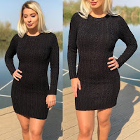 Rochie scurta neagra din tricot casual de zi pentru iarna •