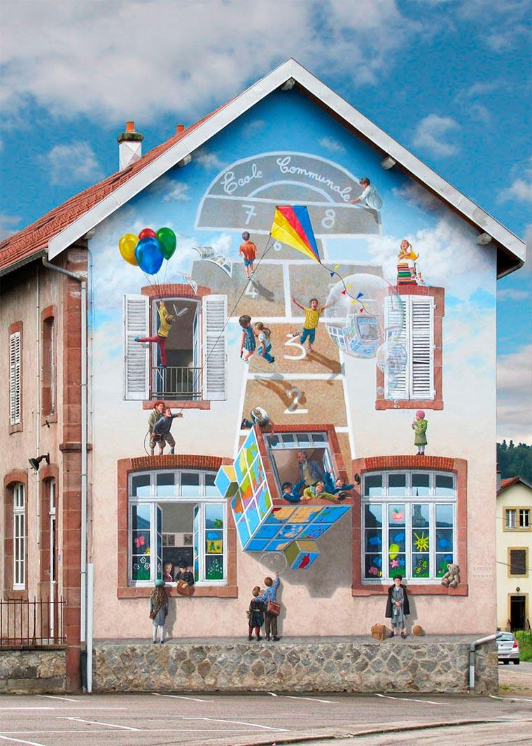 Lukisan Gambar 3D Pada Bangunan Yang Keren Dan Sangat Menakjubkan