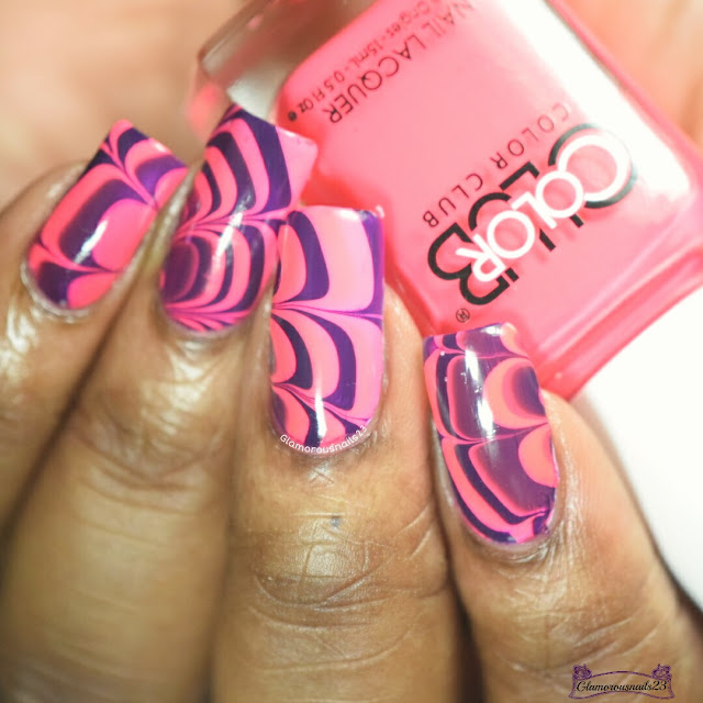 Watermarble Wednesday: Dark Purple & Neon Pink