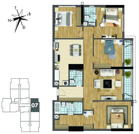 Mặt bằng căn hộ 07 tòa Sapphire 2