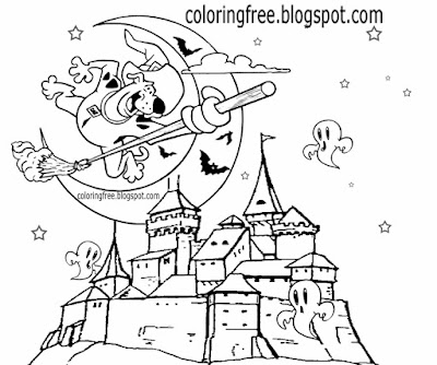 Clear sky moon witch cartoon Scooby Doo coloring pages haunted castle ghosts Halloween night drawing