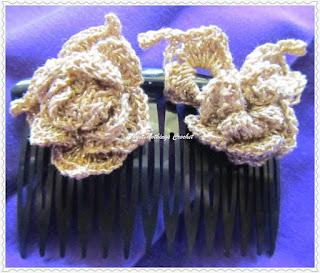 free crochet pattern rose hair barrette