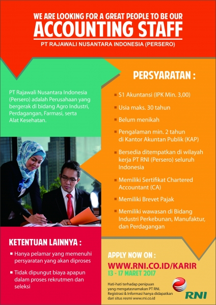 Lowongan Kerja S1 Akuntansi Posisi Accounting Staff