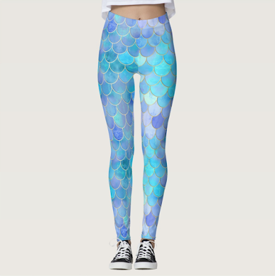 Aqua Pearlescent Mermaid Scale Leggings ArtOfWhere