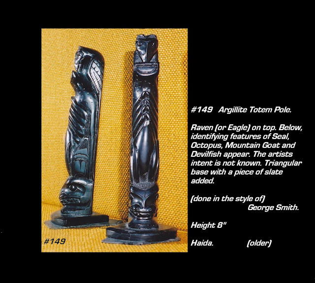 Very old argillite totem pole