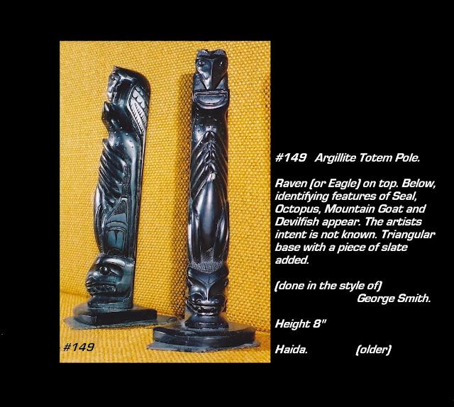 Very old argillite totem pole