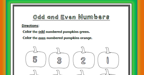 Learning Ideas - Grades K-8: Free Odd + Even Pumpkin Numbers ...
