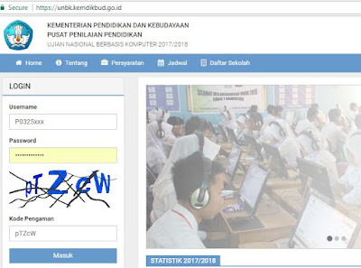 halaman depan web UNBK