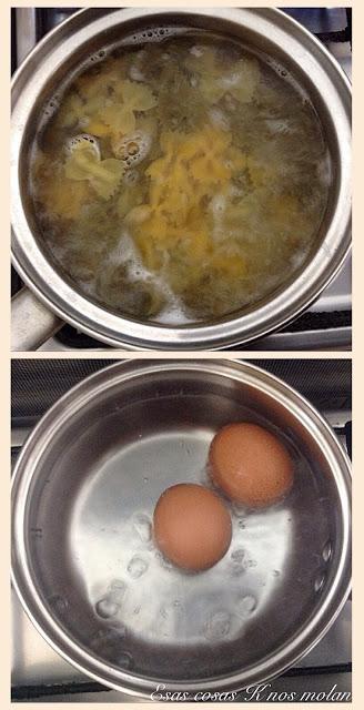 ingredientes ensalada lacitos cociéndose
