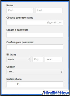 Fill full form and make gmail new account