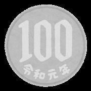 日本の硬貨のイラスト(令和・100円)