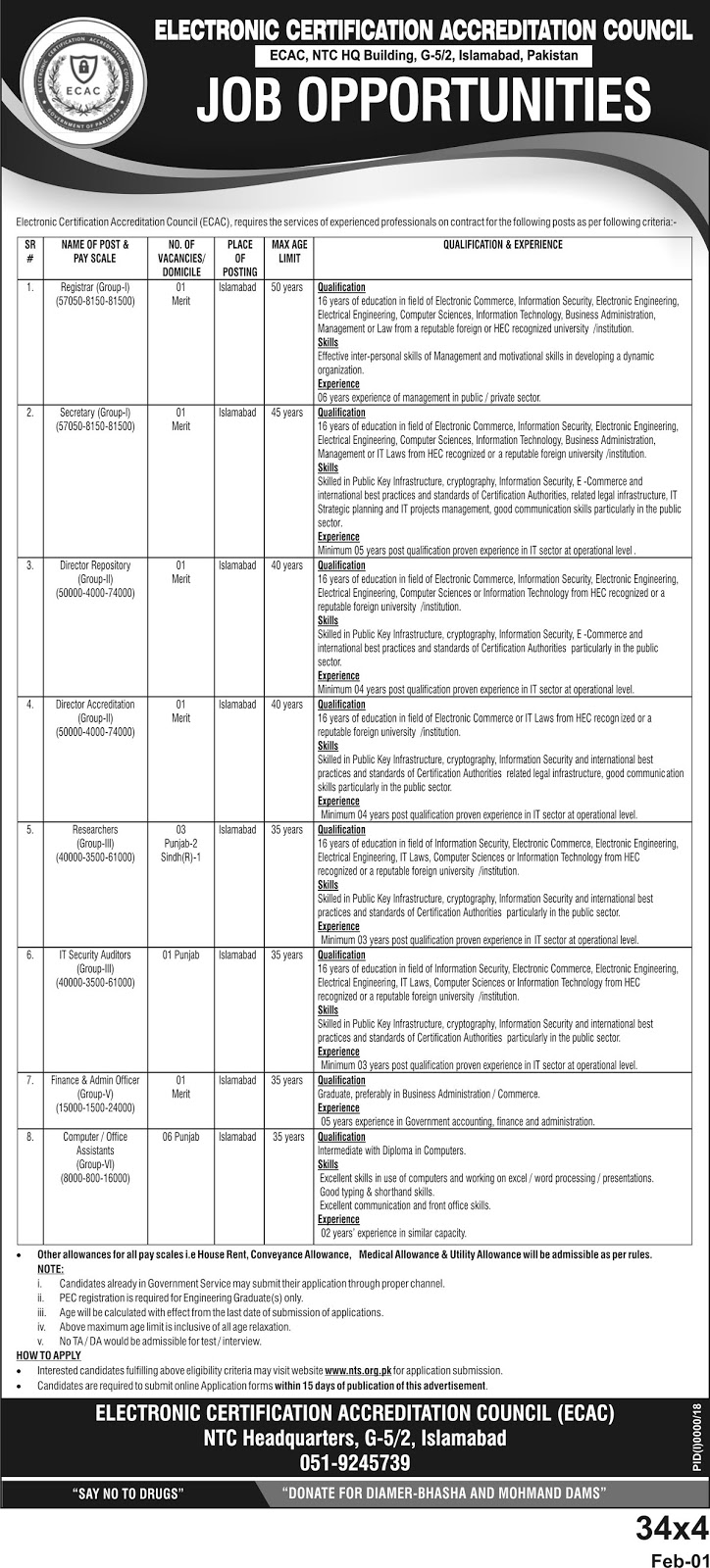 Electronic Certification Accreditation Council (ECAC) Jobs 2019 apply through NTS