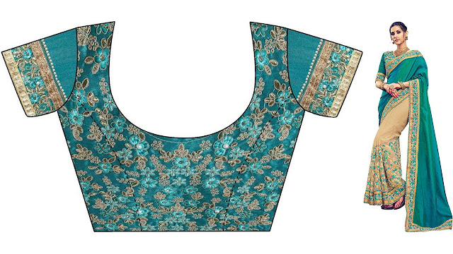 EthnicJunction Embroidered, Embellished Bollywood Poly Silk, Lace, Net Saree  (Dark Green, Brown)