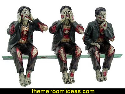 Walking Dead Zombie Undead See Hear Speak No Evil Set of Shelf Sitters Computer Top Statue Figurines  Gothic kitchen decor - gothic kitchenware - gothic dinnerware - skulls kitchen decorations - bat kitchen decor  dracula  vampires - Halloween kitchen decorating - skeletons kitchen decor -  zombie kitchen stuff
