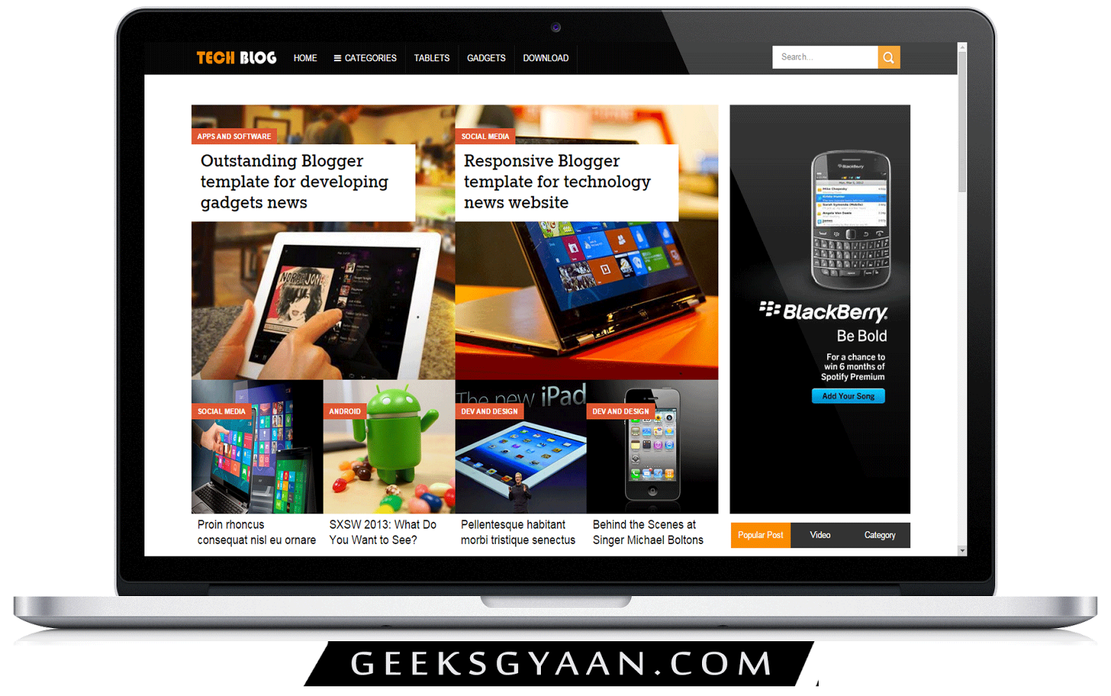 Download Responsive Premium Free Blogger Templates 2015 - Geeks Gyaan