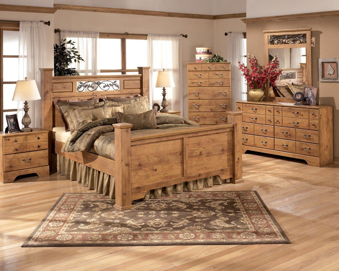 Ashley rustic bedroom furniture - Metal Bed Frame Innovation Rustic Bedroom Furniture Ashley Bittersweet Piece Set Queen Size Poster Bed Dresser