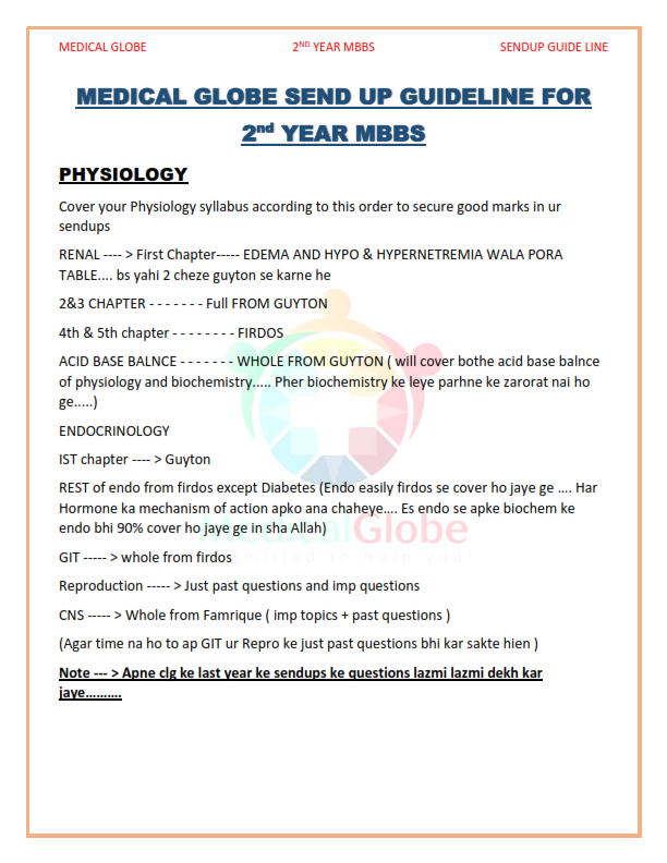EMBRYOLOGY SYLLABUS IST YEAR - SEEN MEDICAL IDEAS